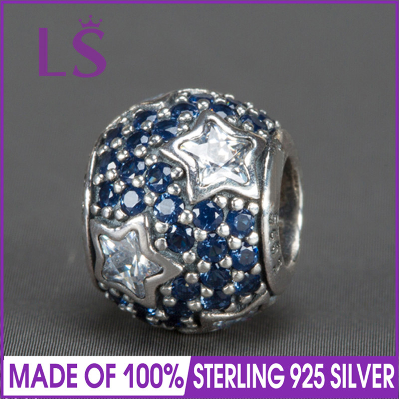 LS High Quality Real 925 Silver Midnight Blue Pave Stars Charms Beads Fit Original Bracelets Pulseira Encantos.100% Fine Jewlery