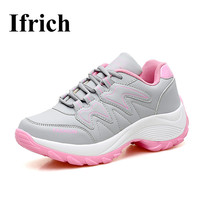 Ifrich Athletic Women Running Shoes 2017 Leather Women Sport Trainers Black Gray Training Sneakers Light Brand