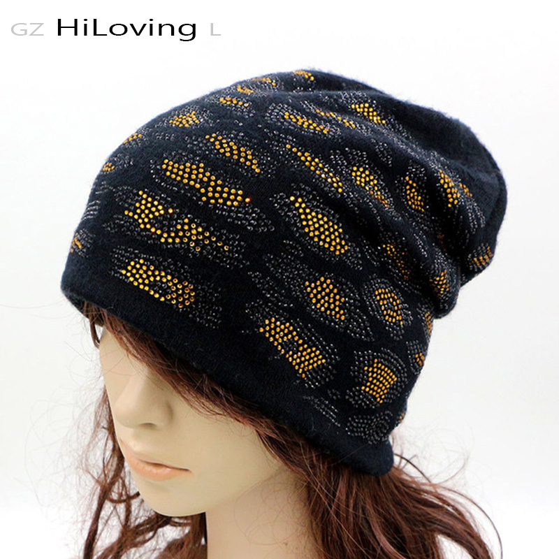 New Design Winter Womens Beanie Hats Soft Cotton Slouchy Rhinestone Hats For Women Ladies Cool Baggy Knit Beanie Hats Gorros Cap 2017 new women ladies cable knitted winter hats bonnet femme cotton slouch baggy cap crochet beanie gorros hat for women