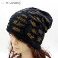 Nuevo Diseño de Invierno Para Mujer Slouchy Beanie Sombreros de Algodón Suave Rhinestone sombreros Para Mujeres Señoras Frescas Baggy Knit Beanie Sombreros Gorros Cap