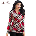 ArtSu Summer Fashion Women Plaid Tops T-Shirts Deep V-Neck Long Sleeve Elegant Work T Shirt Top Casual Bottoming Tee ASBL20025