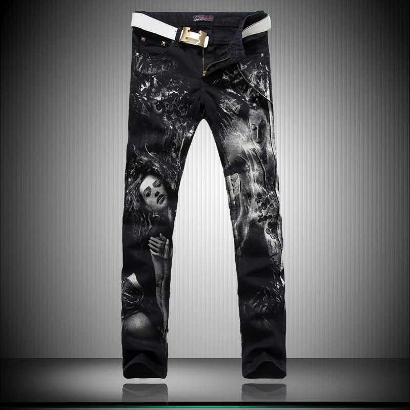 ФОТО Mens Print Jeans Male Slim Tiger Colored Drawing Flower Elastic Denim Pants Printed Painted Long Trousers 3D Printed Jeans Men