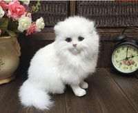 about 18x16cm white squatting Persian cat model ,polyethylene&furs handicraft Figurines & Miniatures decoration toy gift a2966