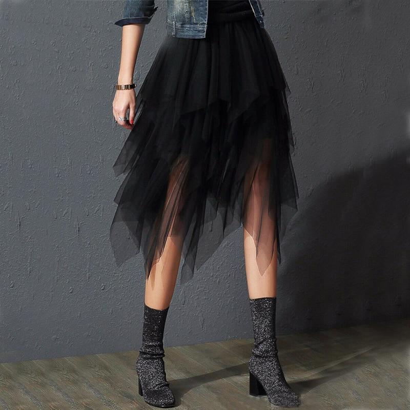 Irregular Tulle Skirt Women Summer High Waist Skirt Up Party Petticoat Fashion Casual Style New