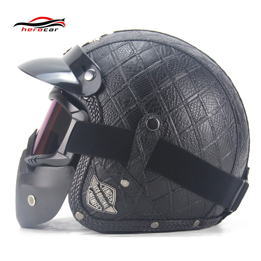 New Retro Vintage Motorcycle Helmet Chopper Scooter Synthetic Leather 3/4 Open Face Casco Moto Helmet GB Capacete Mask Glasses