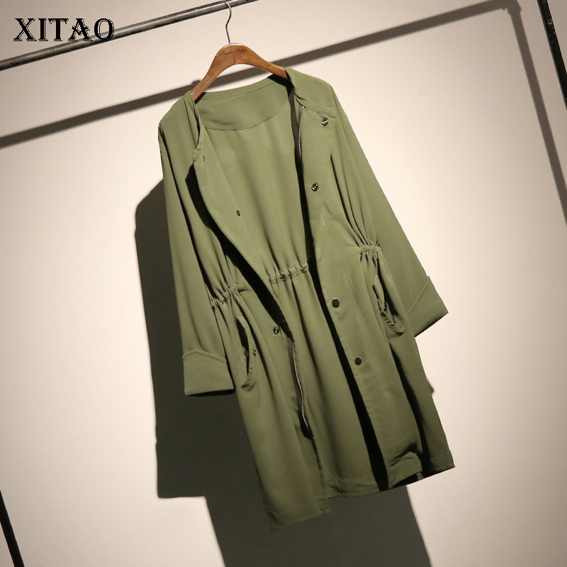 [XITAO] 2018 Autumn Europe Fashion New Women Wide-waisted Single Breasted O-neck Full Sleeve Solid Color Casual   Trench   ZLL1151