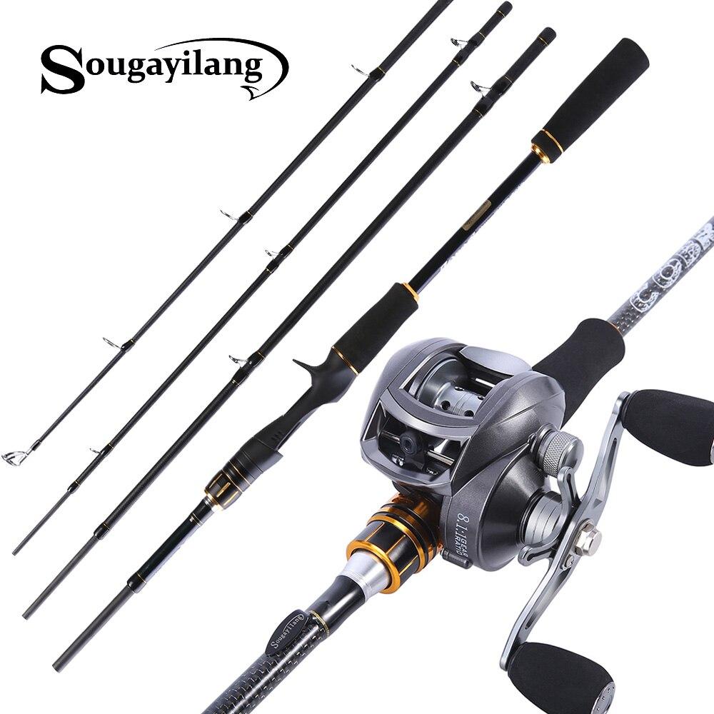 Sougayilang 4 Seções Da Haste e Carretel De Arremesso de Isca De Pesca Combo Conjunto Poste de Fiação Roda De Pesca De Fundição de Carbono 1.8m 2.1m 2.4m
