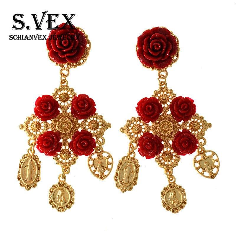 S.VEX Vintage Baroque Earrings for Woman Rose Flower Drop Big Gold Party Brincos Eardrop Lange Oorbellen Pendientes Aretes