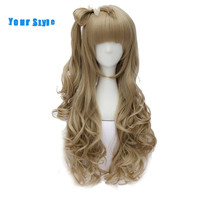 Your Style Long Wavy Blonde Anime Cosplay Wigs Women With Ponytails Female Synthetic Natural Hair Wigs