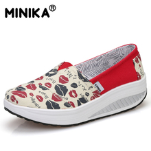 Minika Women Canvas Shoes Breathable Swing Shoes Woman Multicolor Walking Wedges Fashion Casual Lose Weight Muffin Shoes