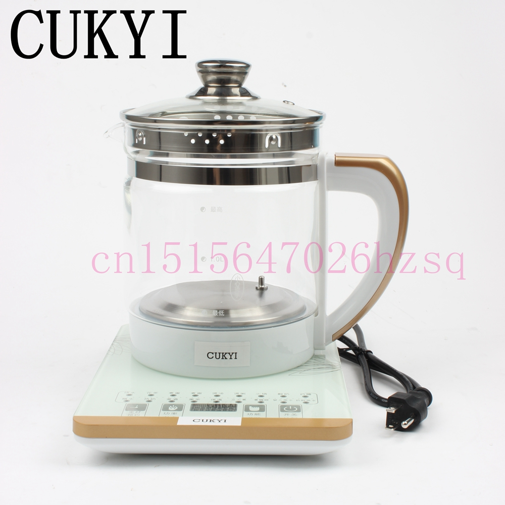CUKYI 110V/220v  health pot Multifunctional electric boiler Cooking pot Fully automatic Thickened glass electric heating kettle cukyi 110v 450w multifunctional electric boiler student dormitory pot noodle electric kettle hot pot 1 2l