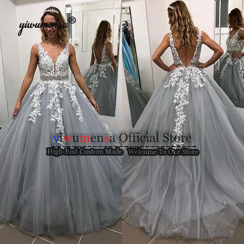 Cheap Vestido De Formatura Longo   Prom     Dresses   Sliver With White Appliques A line   Prom   Gowns Sexy Backless Gold Evening   Dresses