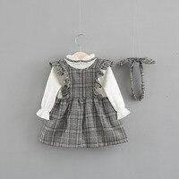 Vestido de cuadros con diadema gris 2