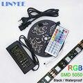 Flexible SMD 5050 Black PCB RGB LED Strip IP65 Waterproof DC12V 60LED/m 44KEY BOX/MINI IR Remote Controller 12V 5A Power Adapter