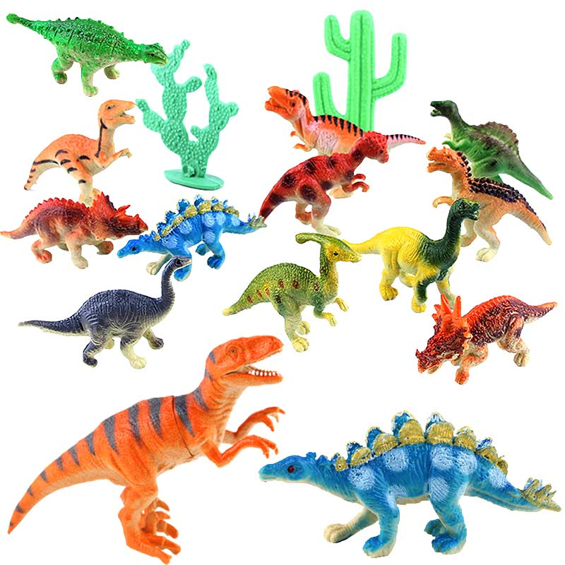 12pcs/set Dinosaur Toy Plastic Jurassic Play Dinosaur Model Action & Figures Best Gift for Boys YH-17 bwl 01 tyrannosaurus dinosaur skeleton model excavation archaeology toy kit white