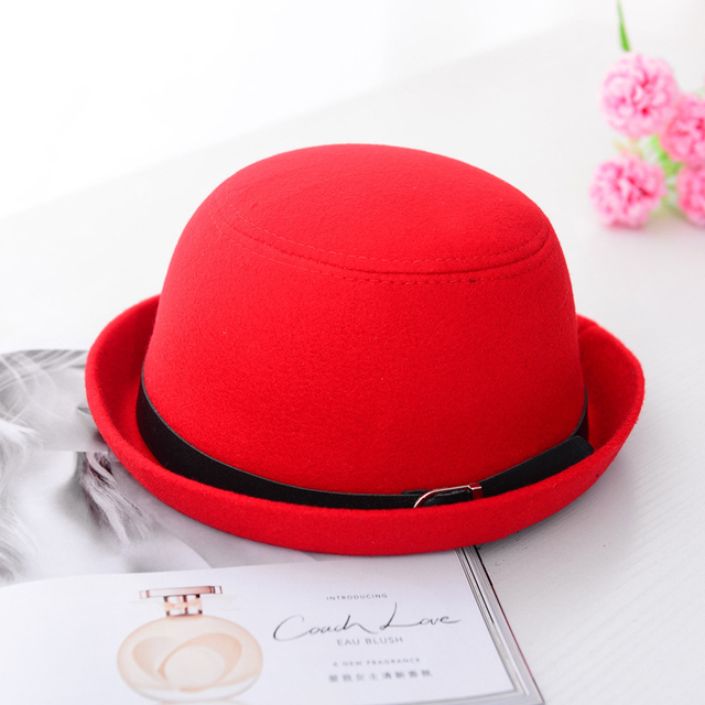 6cf9aa0d158 HT1221 Autumn Winter Women Wool Felt Hats Solid Round Top Bowler Hats with  Belt Korea Style Female Formal Black Red Fedora Hats