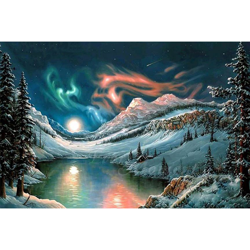 Aurora snow scene diamond Embroidery diy painting mosaic diamant 3d cross stitch picture H496