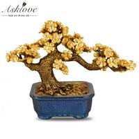 Feng shui Plum Blossom Tree Artificial Plant Bonsai Gold Foil Ornaments Fake Gold Pot Plants Ornaments Home Decor Crafts Gifts