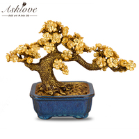 Feng shui Plum Blossom Tree Artificial Plant Bonsai Gold Foil Ornaments Fake Gold Pot Plants Ornaments Home Decor Crafts Gifts