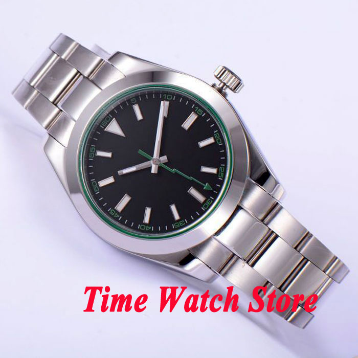 Parnis 40mm black sterial dial green marks luminous flash hand sapphire glass Automatic mens watch 432 relogio masculinoParnis 40mm black sterial dial green marks luminous flash hand sapphire glass Automatic mens watch 432 relogio masculino