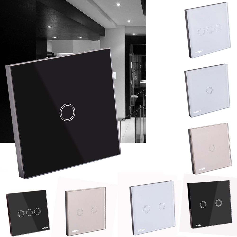 1/2/3 Gang Remote Touch Control Smart Light Wall Switch 220V Wiring Free EU Black/White for Home And Hotel smart home us black 1 gang touch switch screen wireless remote control wall light touch switch control with crystal glass panel