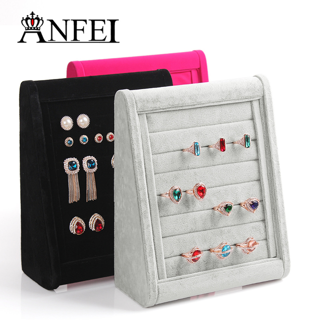 Fashion  Jewelry Stand Ring Display Shelf Jewelry Holder Neceser Packaging Ring Holder Jewelry Organizer Rack Black