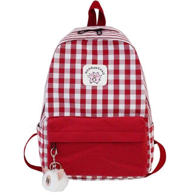 Student Female Pig Plaid Backpack Cute Women Canvas School Bags Girl Kawaii Backpack Fashion Book Ladies Teenage Bag Luxury New