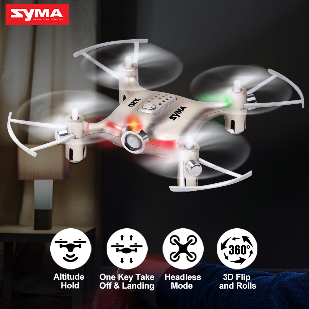 Syma X20 Mini Drone Golden 2.4G 4CH 6-aixs Remote Control Helicopter Quadcopter Gyro Pocket RC Dron 3D-flip Children Toys Gift syma 107e remote control mini drone 3ch rc mini helicopter gyro crash resistant baby gift toys smallest helicopter kid air plane