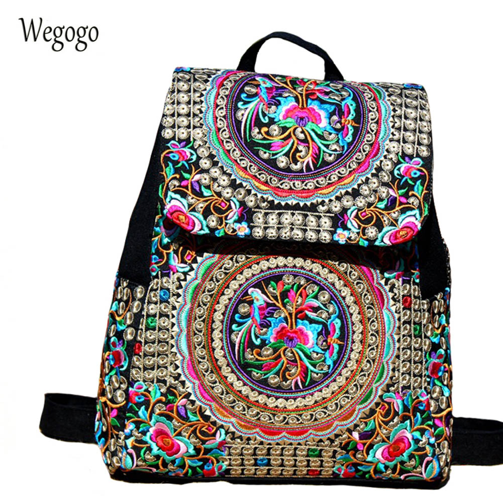 Vintage Women Backpack Canvas Large Capacity Women Embroidery School Bags For Girls Travel Bags Girls Backpack Mochila