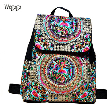 Vintage Women Backpack Canvas Large Capacity Women Embroidery School Bags For Girls Travel Bags Girls Backpack Mochila noenname 2018 summer new miao handmade bucket bags ethnic flowers embroidery canvas backpack women bags female national