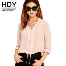 HDY Haoduoyi Solid Color Fashion Women Shirts Single Breasted V Neck Long Sleeve Blouse Casual Brief Style Female Chiffon Shirt