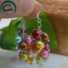 2018 Fashion Natural Freshwater Pearl Drop Earrings Hot Selling 925 Sterling Silver Jewelry Multicolor Baroque For Woman