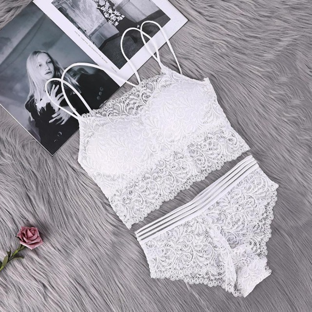 Transparent Lace Bra and Panty Set Women Sexy Lingerie Bra Set Intimates Ladies Underwear Set 2