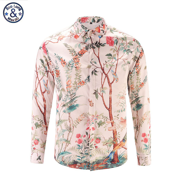 efa1462dcdb 2017 New Fashion 3D Print Shirts Men Trees Birds Pattern Casual Fancy Dress  Camasia Social Masculina