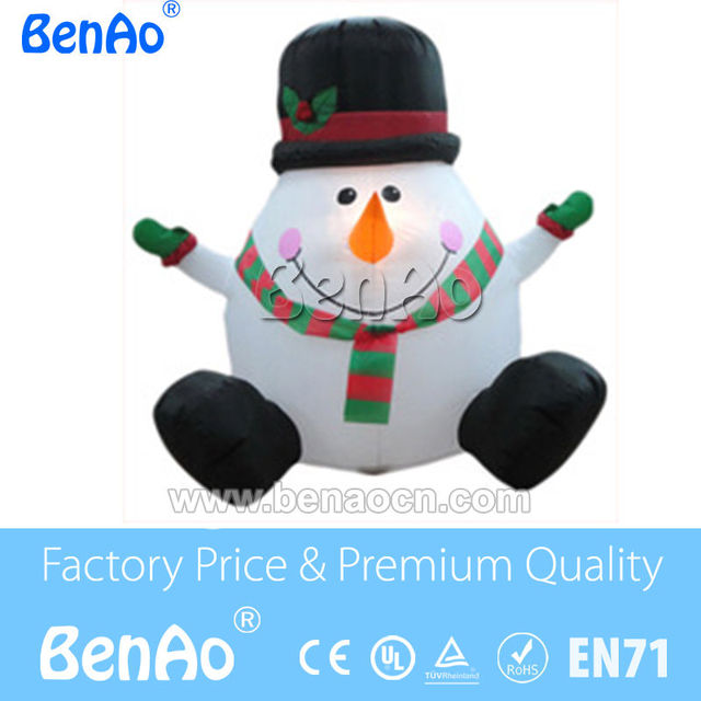 X114  free shipping 2.5m high inflatable snowman with led light/Funny christmas snowman with smile /inflatable lighting snowman