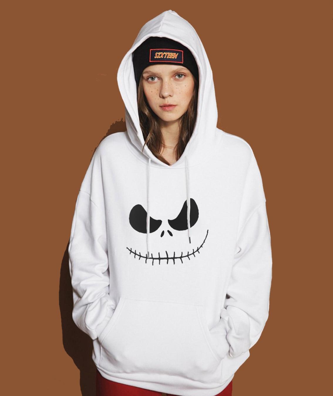 Jack Skellington Pumpkin King Print Hipster Hoodie For Women 2019 Spring Winter Sweatshirt Streetwear Punk Female Hoody Harajuku
