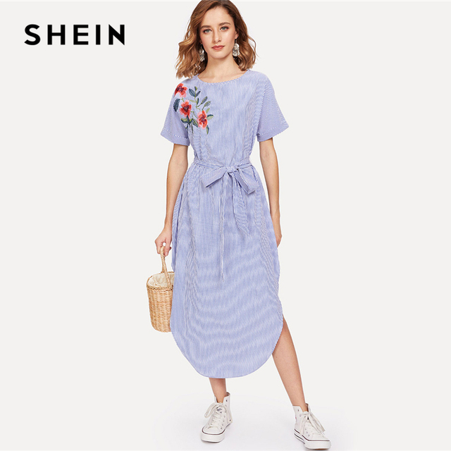 52d48f8203374 SHEIN Blue Vacation Boho Bohemian Beach Round Neck Short Sleeve Floral  Embroidered Belted Striped Summer Casual