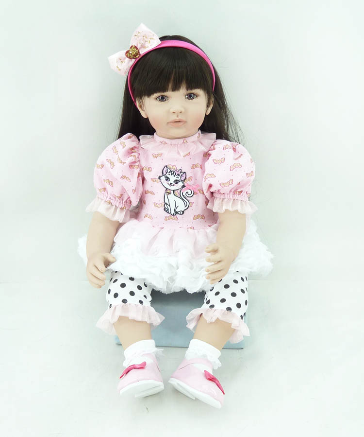 60cm Silicone Vinyl Reborn Baby Doll Girl Brinquedos Lifelike Baby-reborn Kawaii Princess Toy Child Kids Birthday Gifts lifelike american 18 inches girl doll prices toy for children vinyl princess doll toys girl newest design