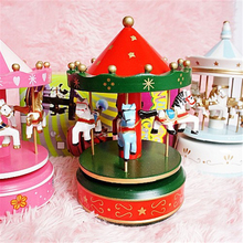 7 Colors Merry-Go-Round Music Box Carousel Birthday Christmas Gift Wedding Christmas Decoration Wood Craft Toy Romantic Castle