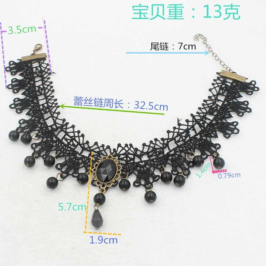 Rendas corda preto pedra pingente gargantilhas colares para as mulheres jóias meninas presentes wj086