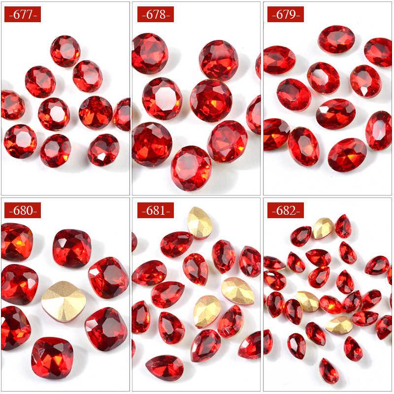10 pièces cristal chine rouge verre ongles Strass bricolage Strass gemmes goutte d'eau coeur conceptions bijoux pierres 3d décoration des ongles