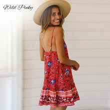 WildPinky 2019 Women Dresses Sleeveless V Neck Casual Mini Dress Lady Summer Boho Floral Beach Spaghetti Strap backless