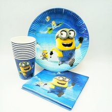 40pcs/set Minions Party Supplies Plate Cup Napkin Baby Shower Disposable Tableware Birthday Decoration Favor