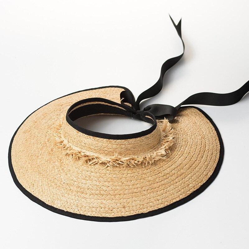 Visière chapeau pour femmes raphia paille chapeau de soleil 2018 été plage chapeaux nouvelle mode dames chapeau 681044