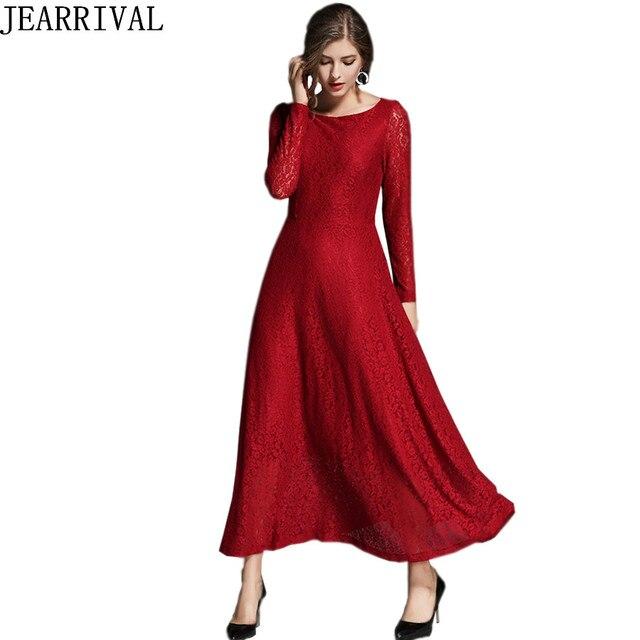 Rode kanten jurk lange mouw