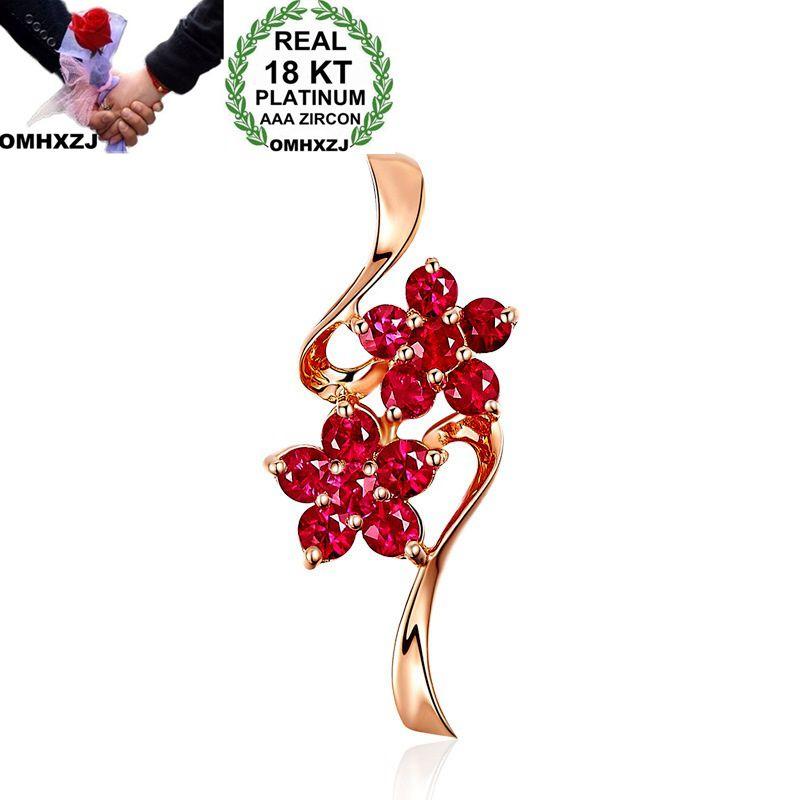 OMHXZJ Wholesale European Fashion Woman Girl Party Wedding Gift Flower Ruby 18KT Rose Gold Necklace Pendant Charm CA190OMHXZJ Wholesale European Fashion Woman Girl Party Wedding Gift Flower Ruby 18KT Rose Gold Necklace Pendant Charm CA190