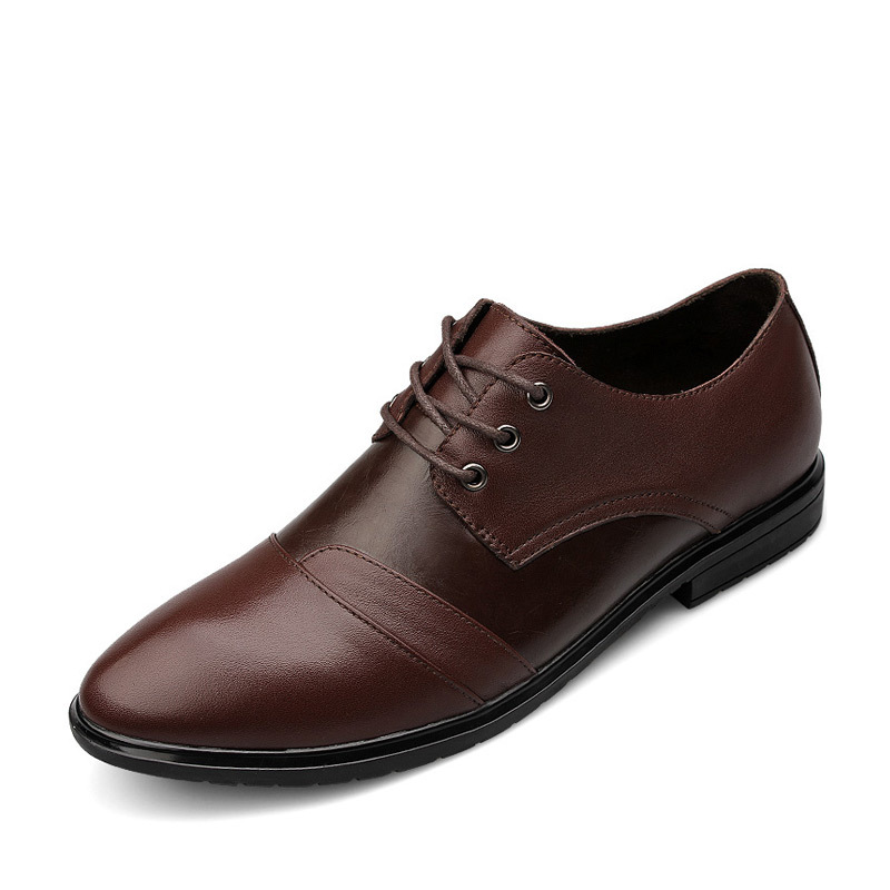 ФОТО Autumn british business  casual leather shoes fashion formal genuine leather shoes lace up simple comfortable official flats