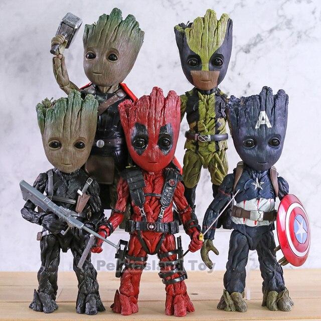Brinquedos quente Maravilha Homem Árvore Cos Capitão América Thor Wolverine Deadpool PVC Action Figure Collectible Modelo Toy