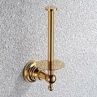 European Retro Gold Toilet Paper Holder Bathroom Toilet Roll Holder Wall Paper Towel Holder Bathroom Accessories