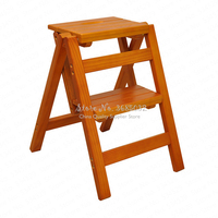 D,Multifunction folding solid stool wood ladder ascending platform step stool dual purpose rack stair chair